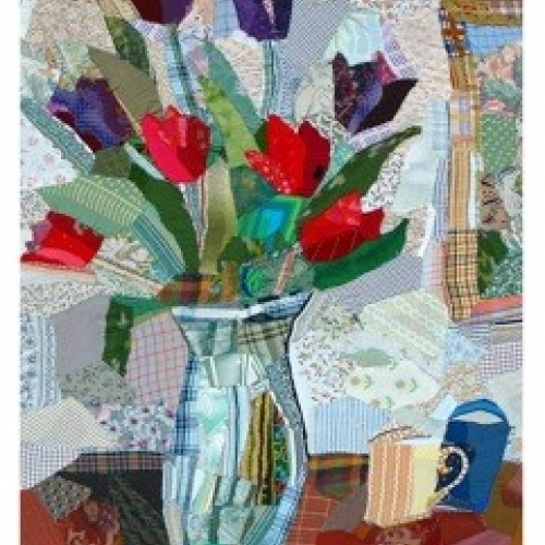 Red and Black Tulips - print of patchwork by Edrica Huws (1998)