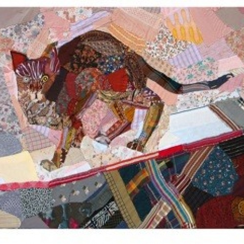 Cat on an Ironing Board - print of partchwork by Edrica Huws (1998)