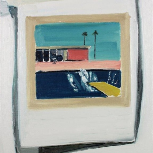 Lara Davies  Postcard of David Hockney's 'A Bigger Splash' on my studio wall (oil on canvas) 	www.laradavies.com