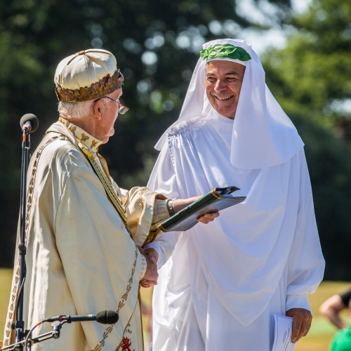 Myrddin ap Dafydd with the present Archdruid, Geraint Llifon